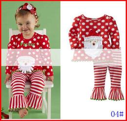 Wholesale Tutu Leggings Dots - 2016 Girls Christmas 2Pc Set Girls Red Long Sleeved Santa Dot T shirt & Girls Tutu Striped Ruffle leggings Suits Sets 1-6T 5sets lot melee