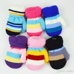 Wholesale Winter Gloves For Babies - Free shipping kids children  baby gloves for winter warm Thicken mittens with rope for 0-2 years-old 3 pairs lot