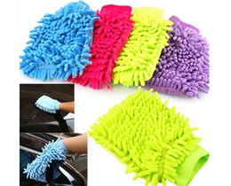 Wholesale Microfiber Chenille Car Wash Glove - hot Car Hand Soft Cleaning Towel Microfiber Chenille Washing Gloves Coral Fleece Anthozoan Car Sponge Wash Cloth Car Care Cleaning