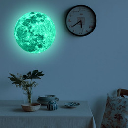 Wholesale Moon Sticker - Removable PVC Paster For Living Room Decorative Fluorescent Stickers Super Bright Moon Plane Wall Sticker Eco Friendly 12lf B