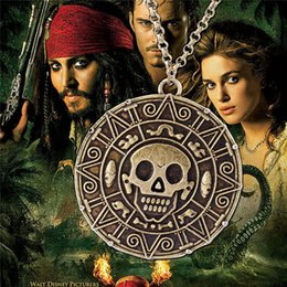 Wholesale Pirates Caribbean Jewelry - Aztec Coin Pirates of the Caribbean Aztec Gold Coin Necklace Skull Sweater Pendant Jewelry Necklaces & Pendants hot sale free shipping