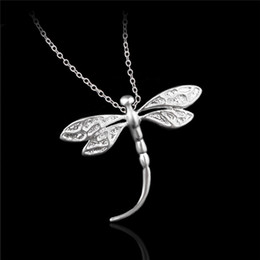 Wholesale Silver Dragonfly Necklace Pendants - Cute design 925 sterling silver dragonfly pendant necklace fashion party jewelry for women free shipping