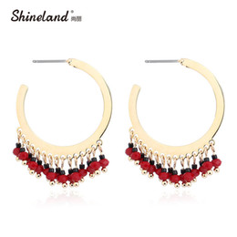 Wholesale Beads For Hoop Earrings - Wholesale- Shineland New Arrival Brand Unique Fashion Punk Big Circle Hoop Earrings Red Black Beads Ethnic Vintage Brincos For Women Gifts