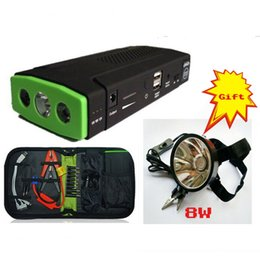 Wholesale Automobile Supply - Car Jump Starter + 8W headlamp LED emergency power supply startup multifunctional Power 12V 5V USB Automobile emergency power supply