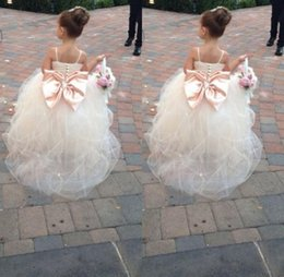 Wholesale Communion Dress Sash Belt - 2016 Pageant Dresses For Girls Spaghetti Rhinestone Flower Girl Dresses Big Bow Kids Ball Gowns Wedding Dress Sash Tulle Beading Belt
