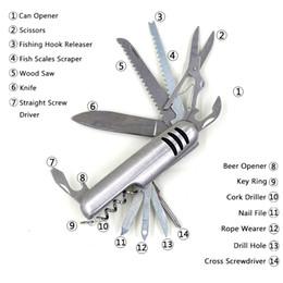 На открытом воздухе швейцарский армейский нож онлайн-14 в 1 многоцелевой складной карманные инструменты швейцарский армейский нож выживания инструменты EDC из нержавеющей стали на открытом воздухе кемпинга туризм