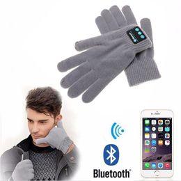 Musikhandschuhe online-Großhandel neue wiederaufladbare drahtlose Bluetooth Musik Headset Lautsprecher Smart Touchscreen Warm Strickhandschuhe