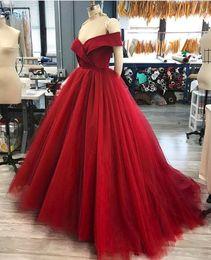 Wholesale Vestidos Sweet 16 Shorts - Off the Shoulder Quinceanera Dresses Ball Gown Prom Dresses Draped Satin Top Court Train vestidos de quinceanera Sweet 16 Dresses
