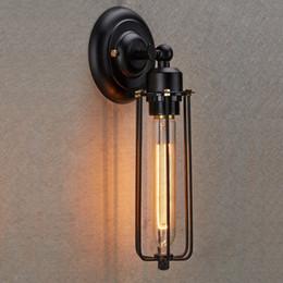 Illuminazione gabbia in stile industriale online-Spedizione gratuita Industrial Edison Vintage Style Mini Black Long Wire Cage 1-Light Wall Sconce per camera da letto bar caffetteria