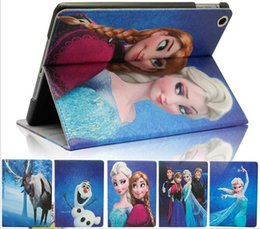 Wholesale Ipad2 Cartoon Case - Frozen Elsa Anna cartoon iPad mini case ipad Air cases ipad2 iPad 3 iPad4 covers PU Leather Case Stand covers fast shipping free 5 styles