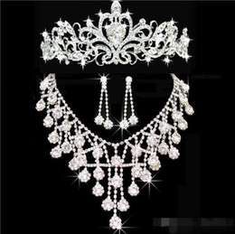 Wholesale Cheap Clip Jewelry - Tiaras gold Tiaras Crowns Wedding Hair Jewelry neceklace,earring Cheap Wholesale Fashion Girls Evening Prom Party Dresses Accessories