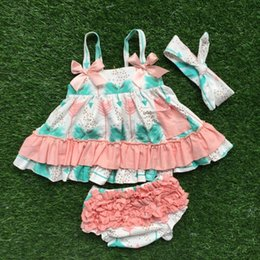 Wholesale Kids Swing Tops - Wholesale- NEW infant toddler girls outfits kids feather swing top outfits girls summer clothing with matching headband