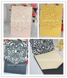 Wholesale Invitation Card Pocket - Wholesale- New black paper wedding card laser cut wedding pocket envelpoe sleeve invitations