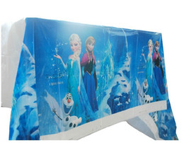 Wholesale Blue Tablecloths - Frozen PE rectangle tablecloth for birthday,party,festival,banquet decoration Children's birthday party supplies 1pcs Disposable Table cloth
