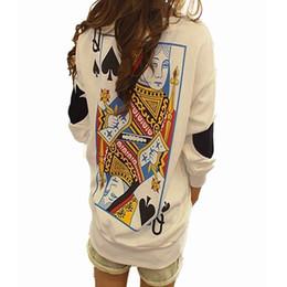 2015 осень женщины печатных личности смешные покер свободные повседневная толстовка с длинным рукавом o-образным вырезом Белый толстовки топы стильный пуловер FG1511 от