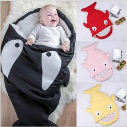 Wholesale Cold Photos - Baby Sleeping Bags Shark Envelope Swaddling INS Stroller Cart Swaddle Newborn Blankets Toddler Winter Wraps Photo Nursery Bedding Robes 3512