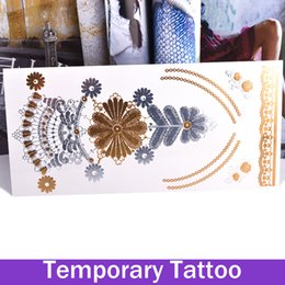 Wholesale Henna Temporary Tatoos - 1 Sheet Flower Metallic Foil Stamping Temporary Tattoos Stickers Tattoo Tatoos Henna Tattoo Styling Tools Stickers On The Body