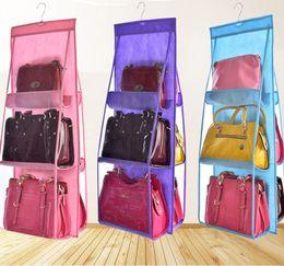 Étagère sac à main en Ligne-6 Pocket Shelf Bags Purse Sacs à main Organisation New Multi-layer Door Hanging Storage Hanging Hanger Sacs HH7-1733