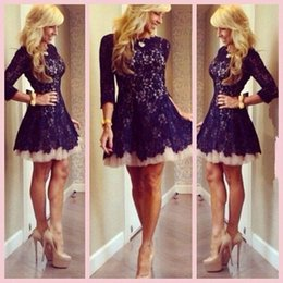 Wholesale Long Sleeve Cocktail Dress Sales - Elegant Lace Short Homecoming Dress 3 4 Sleeve 2016 On Sale Crew Mini Cheap Cocktail Dress Free Shipping Mini Bridesmaid Gown