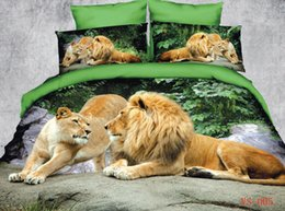 Wholesale Lion Print Bedding Set - 6pc 100% cotton unique 3d Africa Lion Painting bedding sets Duvet quilt comforter cover Full queen king size bed linen sheets bedclothes set