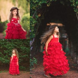 Wholesale Red Valentines Day Dress - Boho Valentine Lace Long Dress Girls Pageant Dress Girls Christmas Holiday Birthday Party Dress Ruffle Tiered Cupcake Flower Girls Dresses