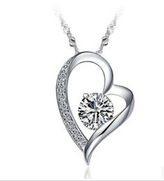 Wholesale Heart Link 925 Necklace - 925 Sterling Silver Crystal Romantic Love Heart Necklace Swiss Crystal Romantic Love Heart Pendant Fashion Jewelry