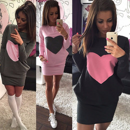 Wholesale Dress Neck Heart - Wholesale-Casural Women Fashion Heart Print Dress Winter Warm Cotton Bodycon Long Sleeve Dress