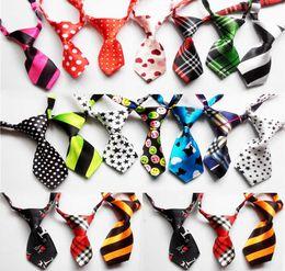 Wholesale Pet Hair Tie - 100pcs Fashion Polyester Silk Pet Dog Necktie Adjustable Handsome Bow Tie Necktie Grooming Supplies