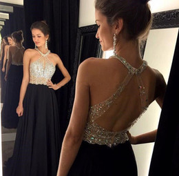 Wholesale Slim Line Evening Dress - Sexy A-Line Black Prom Dress 2016 Long Halter Beaded Slim Backless vestidos de fiesta Formal Evening Gown Party Pageant Dresses