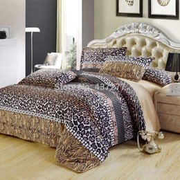 Wholesale Comforter Sets Leopard Print - Wholesale-Sexy fashion leopard print cotton queen bedding set bed clothes with reversible duvet cover flat sheet 4 5pc comforter sets
