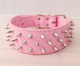 Wholesale Black Spike Collar - new 1pcs Spiked Studded Leather Medium Dog Collar Pitbull Mastiff Dog S,M,L size hot sale