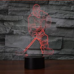 Wholesale Led Visual - hockey Player 3D LED Night Light Touch USB Lamp Visual Holiday Gifts Night Light For Children