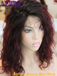 2017 wholesale ombre full wigs Court Haircuts 99J Rouge Vague brésilienne Dentelle cheveux avant Ombre Perruques 130% Densité gros humaine Cheap Hair Silk Top Full Lace Wig Red wholesale ombre full wigs à vendre