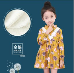 Wholesale Long Velvet Dresses Girls - 2 colors INS NEW Fashion Girl autumn winter With velvet thickening dress round collar long sleeve little flower printed cotton girls dress