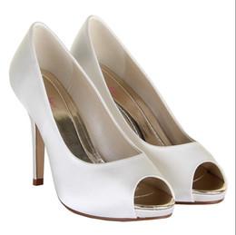 Недорогие белые пятки на носках онлайн-2016 Белые Свадебные Туфли Дешевые Свадебные Туфли Высокие Тонкие Каблуки Peep Toe На Заказ Плюс Размер Дамы Партии Обувь Горячие Продажа Мода Свадебные