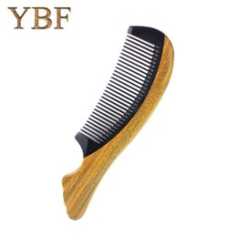 Wholesale Fish Manufacturers - YBF Genuine Quality manufacturers assurance green sandalwood ox horn wooden fish shape comb Detangler professional brush
