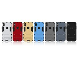 Wholesale X Men Wallet - For Apple Iphone X Case Iron Man Armor 2in1 Heavy Duty Hybrid Rugged Kickstand Phone Cover Case for Iphone X