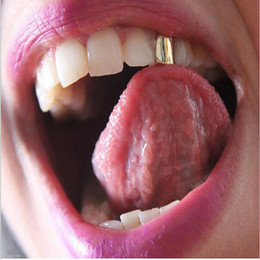 Wholesale Dental Jewelry - Gold Color Hip Hop Single Tooth Grillz Cap Top & Bottom Grill for Halloween Jewelry Gifts Bling Custom Teeth Rhinestone deco