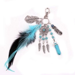 Wholesale Turquoise Round Crystal Beads - Boho Dream Catcher Keyring Fashion Natural Turquoise Charming Silver Feather Plane Leaf Keychain Women Bohemian Jewelry Free DHL D301S
