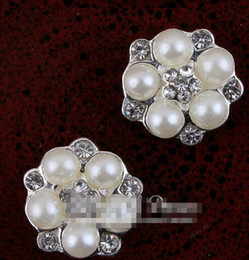 Wholesale Wholesale Round Bridal Brooches - 10% OFF 120 pcs lot 16MM silver Handmade Starburst Metal Crystal Pearl Button For Bridal Brooch Alloy Rhinestone Flatback Wedding Button