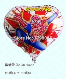 Wholesale Plastic Baloon - 50pcs lot 18 inch heart spider-man helium balloon helium lantern ballon globos baloon party air balls foil balloon for kids toys