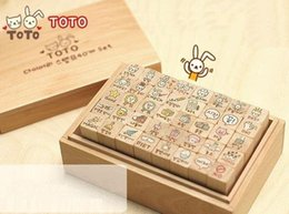 Wholesale New Wooden Cat Stamp - Wholesale-Freeshipping!40pcs set NEW cute toto cat and rabbit stamp gift set wooden box multi-purpose Decorative DIY funny work Wholesale