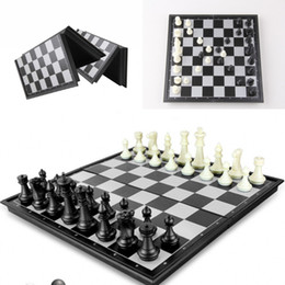 """Wholesale International Chess - Folding Champions Chess Set 2 in 1 Travel Magnetic Chess and Checkers Set 9.84"""" kid's best gift D714J"""