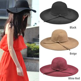 Wholesale Ladies Crushable Sun Hat - Wholesale-Wool Felt Crushable Summer Sun Beach Wide Brim Ladies Floppy Hat retro goth wool bowknot band