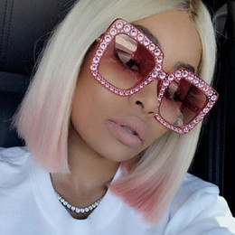 Wholesale Blue Frame - ALOZ MICC Luxury Square Sunglasses Women Italy Brand Designer Diamond Sun glasses Ladies Vintage Oversized Shades Female Goggle EyewearA327