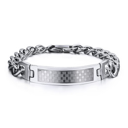 Wholesale Silver Chains For Men 12mm - New Design XMAS's Best Gift For Men Silver Stainless Steel Curb Cuban Link Chain square lattice 12mm Wide ID Identification Bracelet