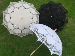 Wholesale Wholesale Black Lace Parasol - Bridal wedding parasol Victorian lace umbrellas Event and party decorations White black and ivory colors Diameter 27.5 inches Drop shipping