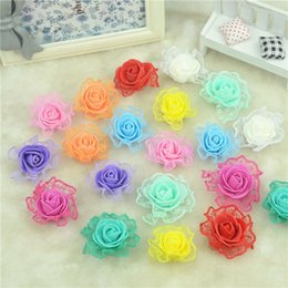 Wholesale Diy Artificial Mini Foam Flower - Wholesale- 100pcs Mini PE Foam with Lace Rose Artificial Flowers Heads For Wedding Car Decoration DIY Pompom Wreath Decorative Fake Flowers
