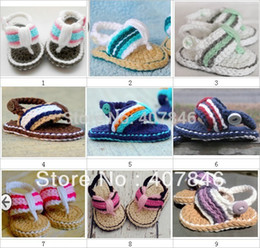 Wholesale Crochet Double Sole Baby Shoes - Crochet baby shoes first walkers handmade infant slippers color stripe double sole cotton yarn 0-12M