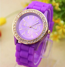 Wholesale Acrylic Quartz Crystal - 50PCS Colorful Fashion Shadow Geneva 3 eyes Crystal Diamond Jelly Rubber Silicone Watch Unisex Men Women Quartz Candy Jelly Watches free DHL